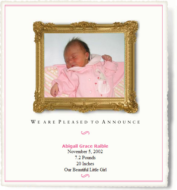 Abigail's Birth Announcement
