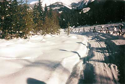 Front Road in snow - this is taken when we're teenagers.  You can tell since there's snowmobile tracks, which we didn't have until we were in high school